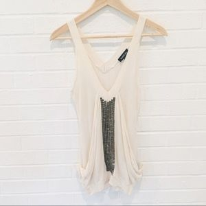 Bebe party night out tank blouse in cream XS